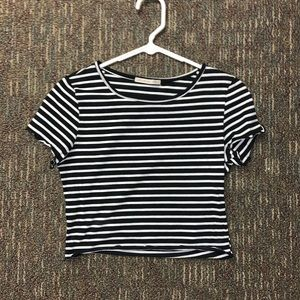 Tops - Black and White Striped Crop Top